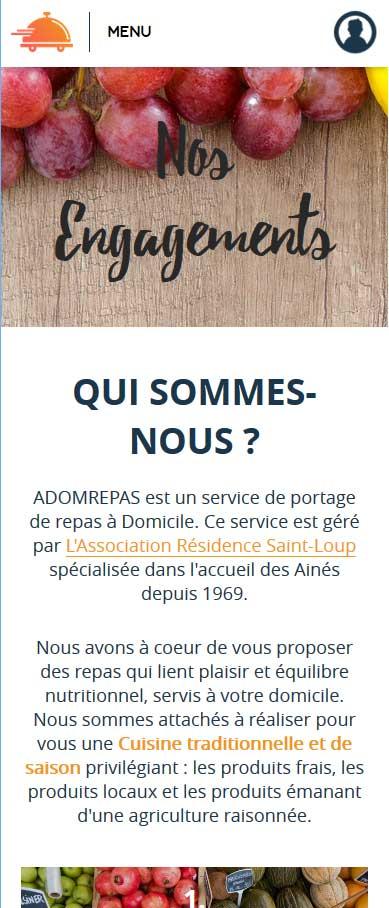 Site web adomrepas.com - Responsive Mobile