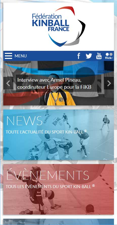 Site web kin-ball.fr - Responsive Mobile