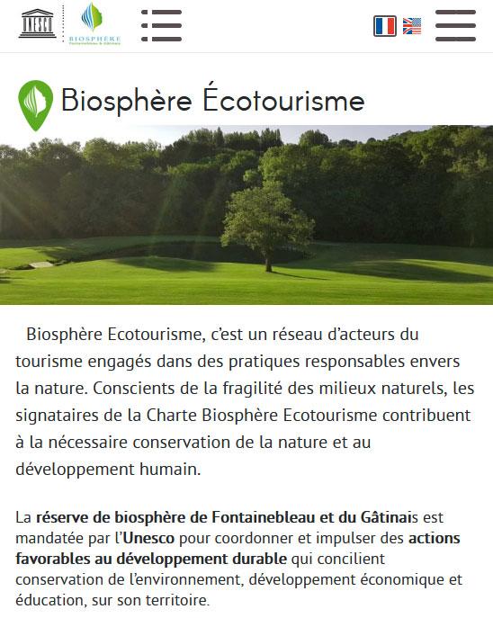 Site web biosphere-ecotourisme.com - Responsive Mobile